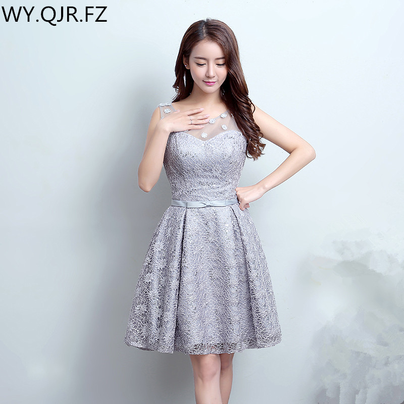 QQC-LF829#silver Gray A Toast To The Bride Suits The New Spring 2019 Short Dress Lace Up Bridesmaid Dresses Wholesale Prom Dress