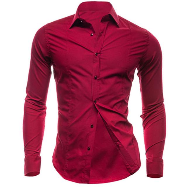 Camisa dos homens Camisas de Manga Comprida 2017 Marca Dos Homens Casual Masculino Magro Fit Negócios Lapela Sólida TFWB Chemise Camisas Dos Homens Camisas De Vestido XXL