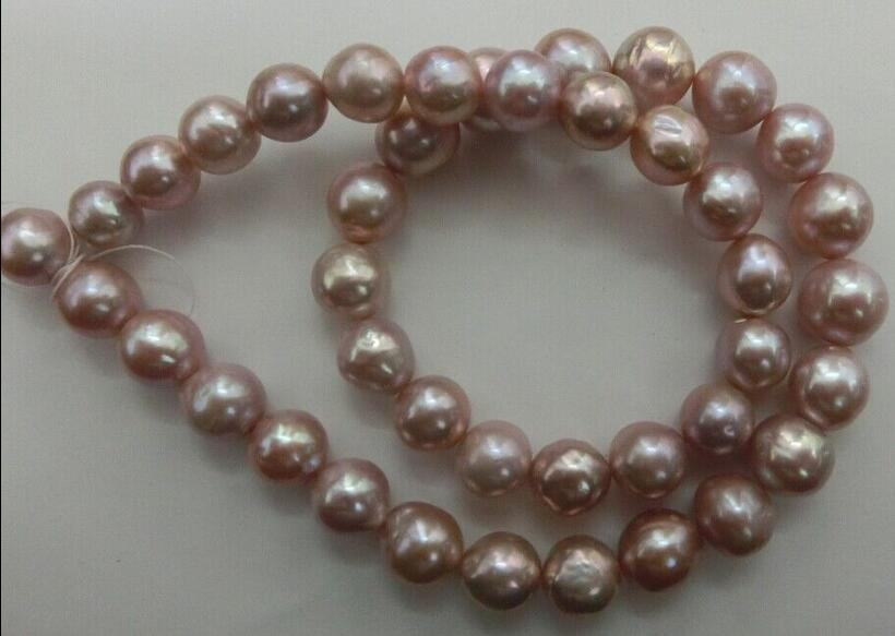 Beautiful elegant 10-11mm pink pearl necklace 18inch super luster (A0322)