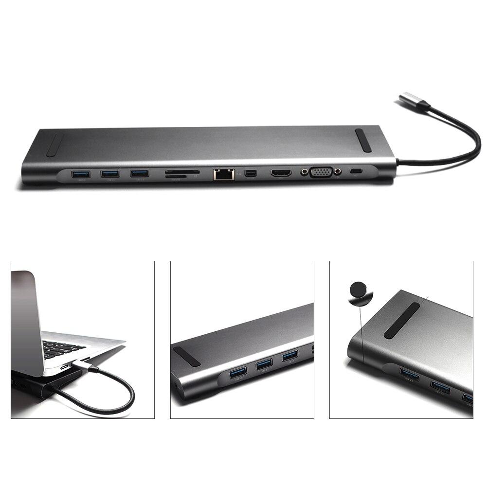 11in 1 pour PC séparateur d'ordinateur Portable moyeu de USB C HDMI adaptateur d'alimentation Portable expanseur convertisseur multifonctionnel Multi Port Durable Stable