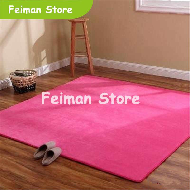 Alfombra Lisa De terciopelo coral gruesa alfombra antideslizante almohadilla de sala de estar manta de mesa de café cojín de dormitorio alfombra de yoga de cabecera