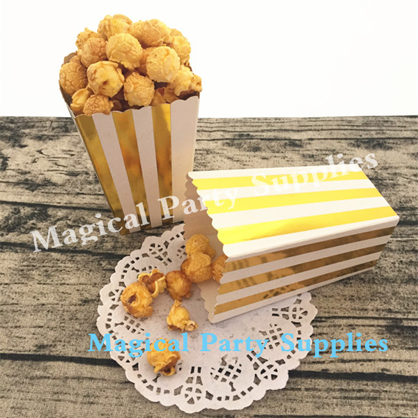 Foil Gold Popcorn Boxes (24pcs) Movie Theatre Style Popcorn Carton Wedding Party Favor Boxes Treat and Candy Tubs
