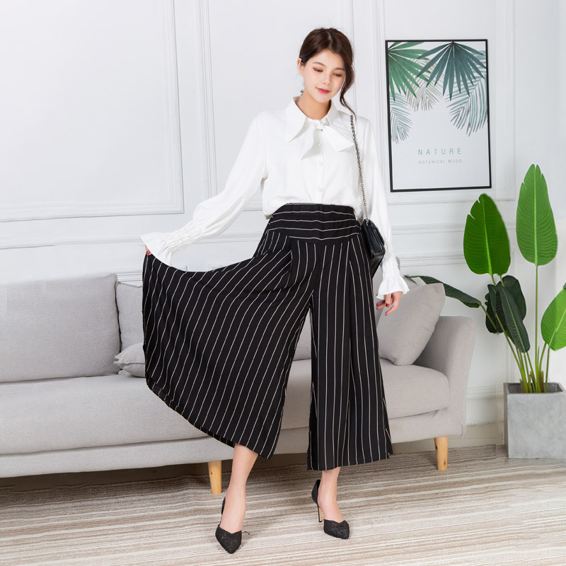 2019 New Women   Wide     Leg     Pants   Chiffon Contrast Stripes High Waist Ladies Ankle-Length Trousers Female Summer   Pants   Loose Xl-4Xl