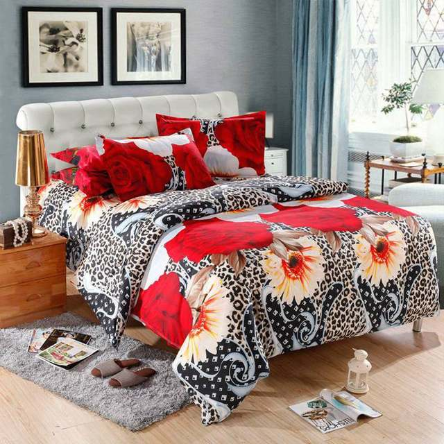 4 Pcs 3D Floral Bedding Sets King Size Duvet Cover Sets Cheap Flower Bed  Linen Sheets