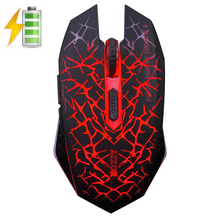 M6 2.4GHz Wireless Silent Rechargeable Mouse LED Backlit USB 2400DPI Optical Gaming Mouse Gamer Ergonomic PC Laptop Computer New