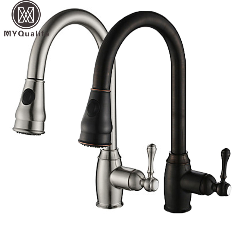 Brushed Bronze Bathroom Kitchen Faucet Pull out Stream Sprayer Head Kitchen Hot and Cold Water Taps