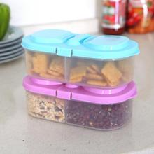 Practical 2 grids Storage Box Kitchen Food Organizer Case with Lid Storage Box