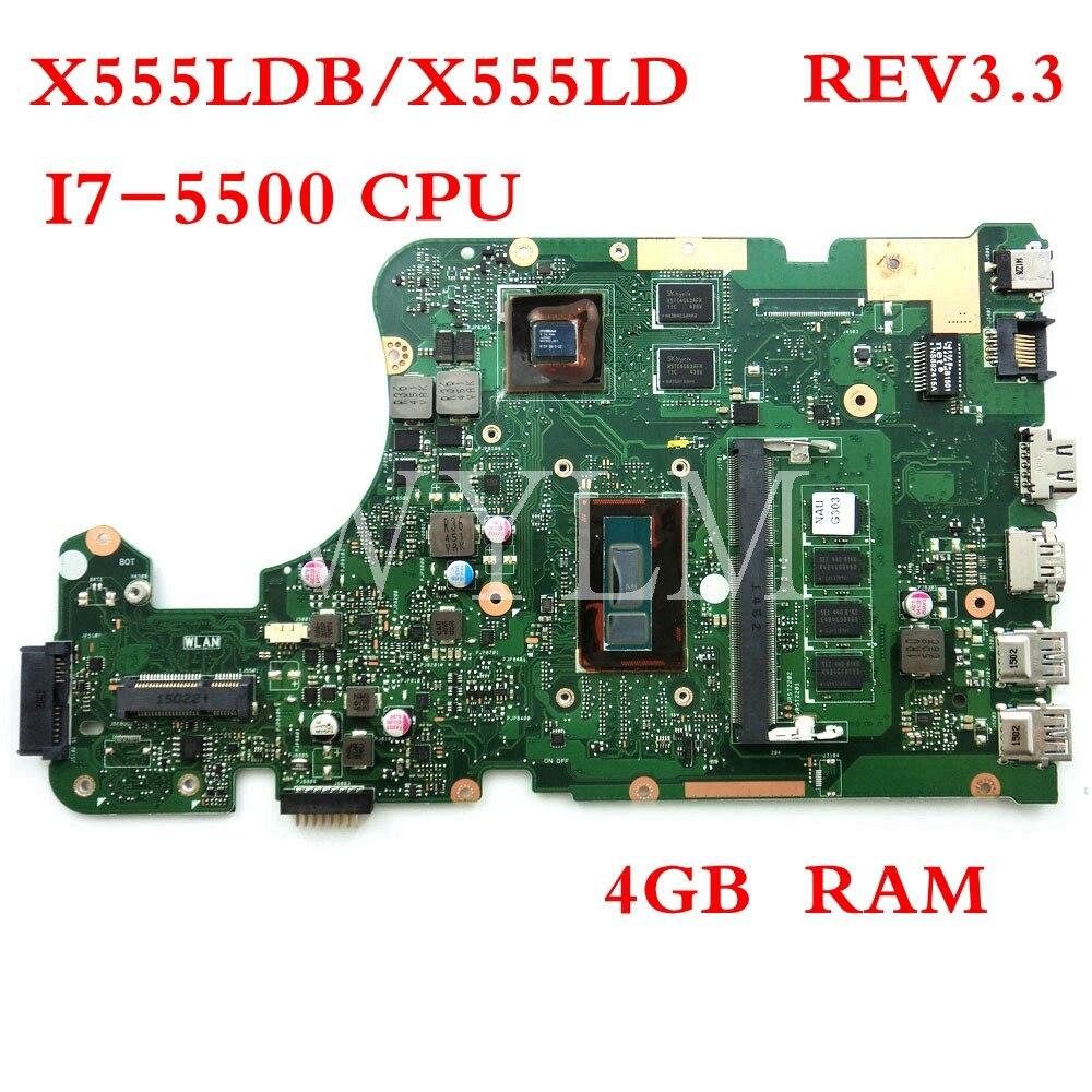 X555LDB motherboard REV3.3 I7-5500CPU 4G RAM For ASUS W519L X555L X555LD X555LJ 90NB0620-R00140 laptop mainboard Tested WorkingX555LDB motherboard REV3.3 I7-5500CPU 4G RAM For ASUS W519L X555L X555LD X555LJ 90NB0620-R00140 laptop mainboard Tested Working