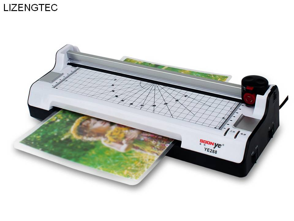 Free Shipping LIZENGTEC  Hot &Cold With Paper Trimmer & Corner Rounder Roll Laminator Machine For A4 Paper  Photo