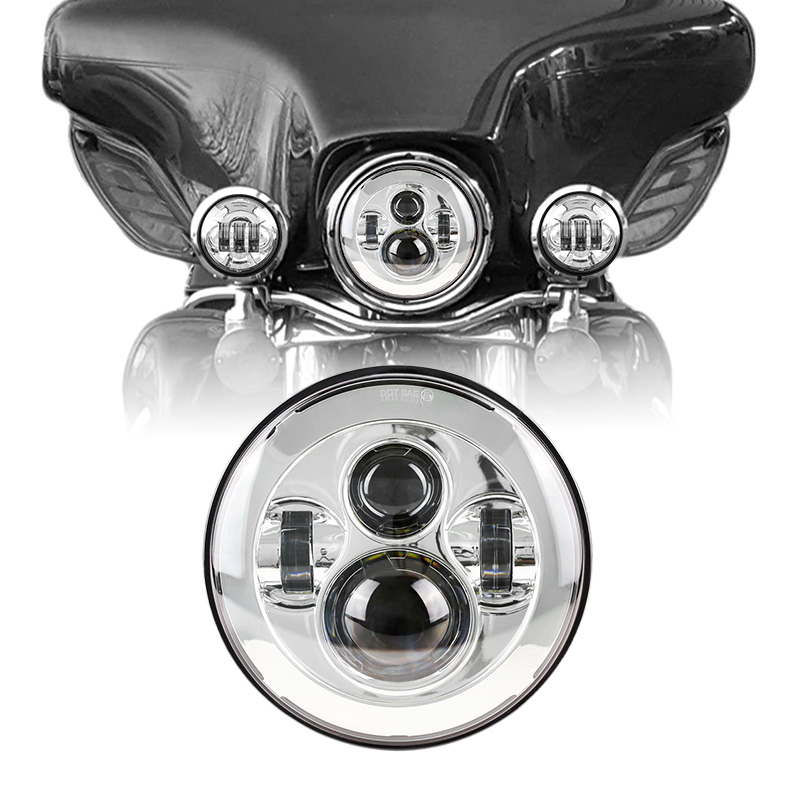 7 Round Harley Daymaker LED Headlight for Harley Davidson Touring and Trike models Fat Boy FLSTF Electra Glide Classic FLHTC 5 75 5 3 4 chrome headlight housing bucket for harley electra glide bad boy