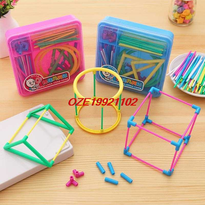 1 set Primary Mathematics Educational Tools DIY ABS Solid Geometry Model Making teaching aids