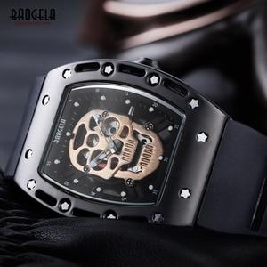 Image 4 - Baogela Fashion Mens Skeleton Skull Luminous Quartz Watches Military Style Black Silicone Rectangle Dial Wristwatch for Man1612