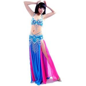 Image 1 - 새로운 섹시한 듀얼 컬러 밸리 댄스 스커트 전문 Bellydance 드레스 세트 Bellydancing 의류 성능 의상: 브래지어 & 벨트 & 스커트