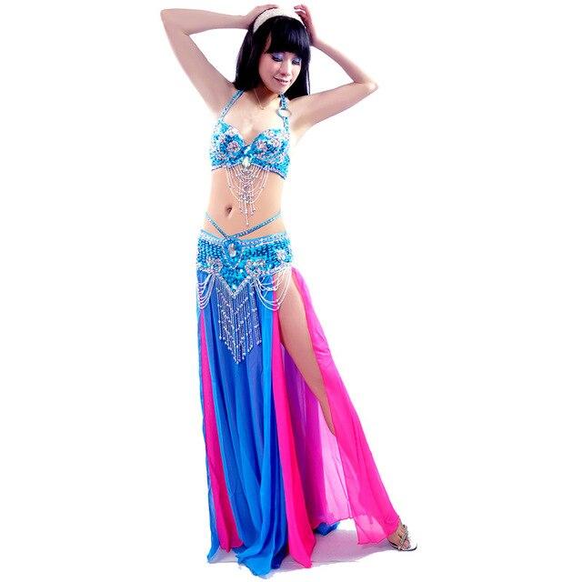 새로운 섹시한 듀얼 컬러 밸리 댄스 스커트 전문 Bellydance 드레스 세트 Bellydancing 의류 성능 의상: 브래지어 & 벨트 & 스커트