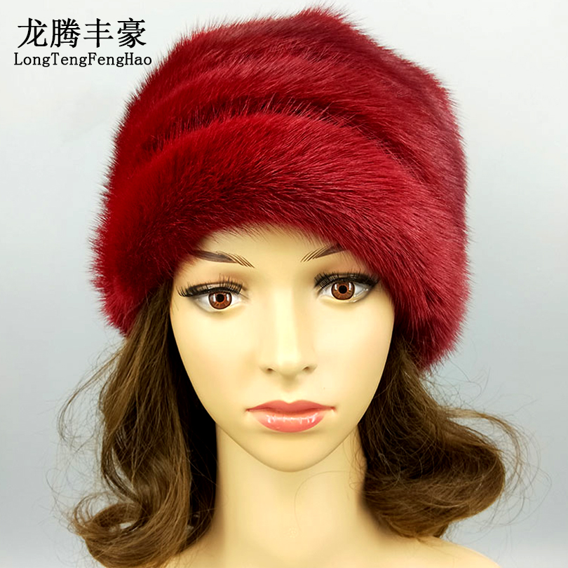 High Quality Women s Cap Mink Fur Beanies Winter Warm Real Fur Hats With Pompom Female