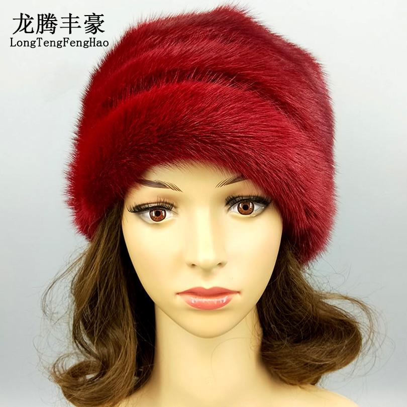 Haute qualité femmes casquette vison fourrure bonnets hiver chaud réel fourrure chapeaux avec pompon femme russe chapeau casquette dame décontracté taille unique