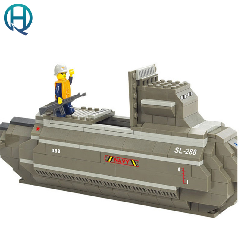 Nuclear Submarine Building Blocks Sluban B0123 Educational DIY Brick Thinking Toy for Children Compatible with Legoes