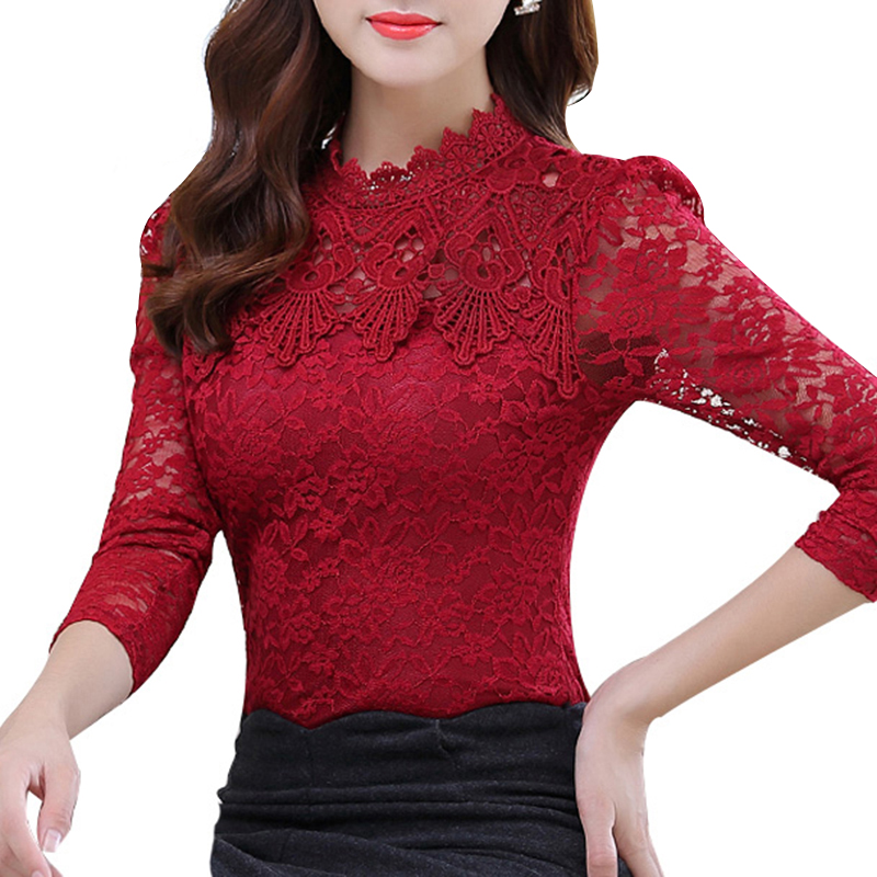 2015 Winter Women Tops Fashion Lace Blouse Flannel Long Sleeve Slim Crochet Floral Lace Shirt Elegant