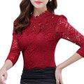 2017 Del Otoño Del Resorte de Las Mujeres Tops Moda de Encaje Blusa de Manga Larga Cuerpo delgado Floral Elegante Camisa Más El Tamaño Del Cordón Superior blusas femininas