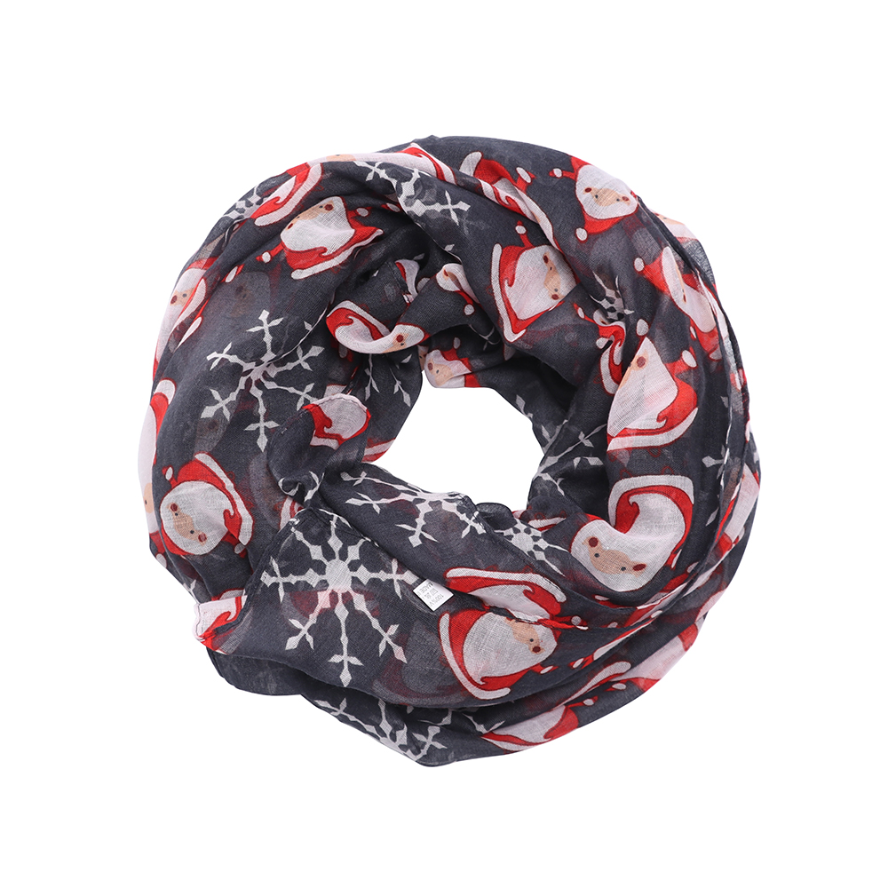 New Women's Fashion Silk Wrap Organza Floral Scarves Long Scarf Christmas Santa Claus Print Soft Voile Scarf Wrap Shawl Scarves