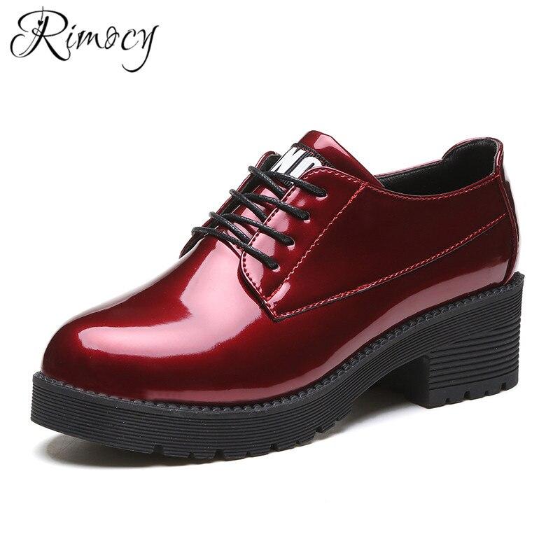 Impermeable Cuadrado rojo Mujer Redondo Primavera Del Mujeres De Zapatos Pie Casual Encaje Dedo Moda Patente Rimocy Las Tacones Negro Bombas 2019 R8wOnq