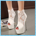 women summer boots 2017 lace pumps women party shoes platform pumps white wedding shoes stiletto heels open toe dress shoes