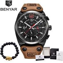 Benyar Элитный бренд хронограф спортивные мужские часы Модные Военные водонепроницаемый кожа кварцевые часы мужские Relogio Masculino