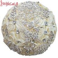 Factory Custom Gorgeous Volledige Crystal Broche Bridal Bruidsboeketten Ivoor Zijde Rose Diamonds Kunstbloemen Boeketten W124