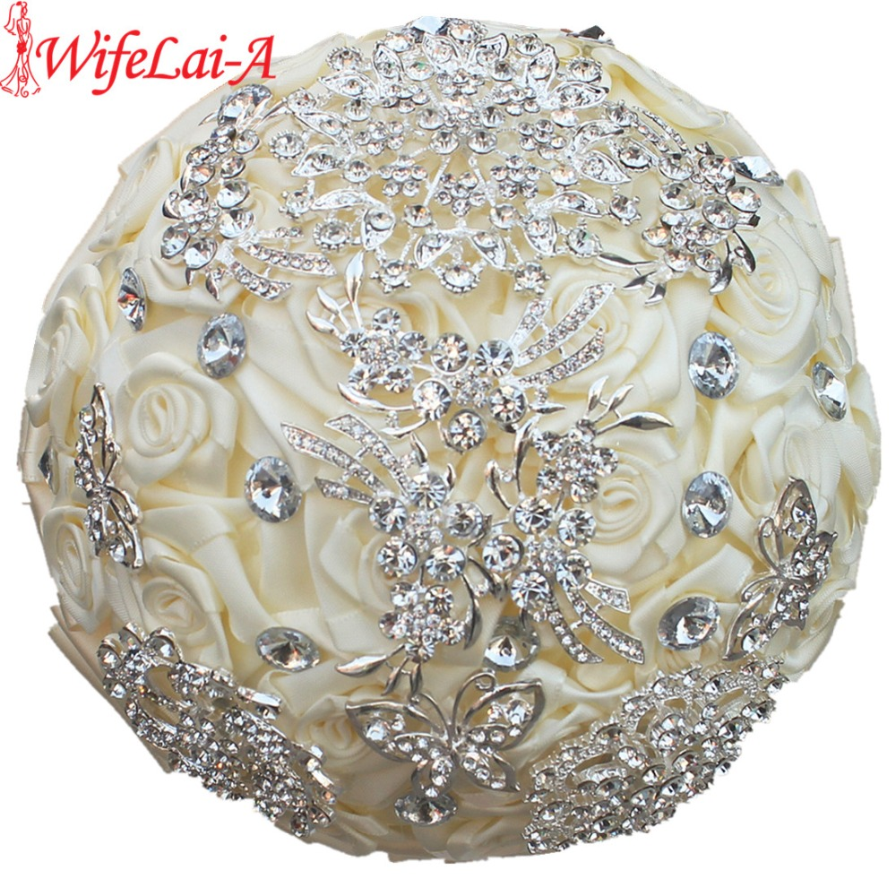 Top Quality Factory Full Crystal Brooch Silk Bridal Wedding Bouquets Ivory Rose Diamonds Artificial Flower Bouquets