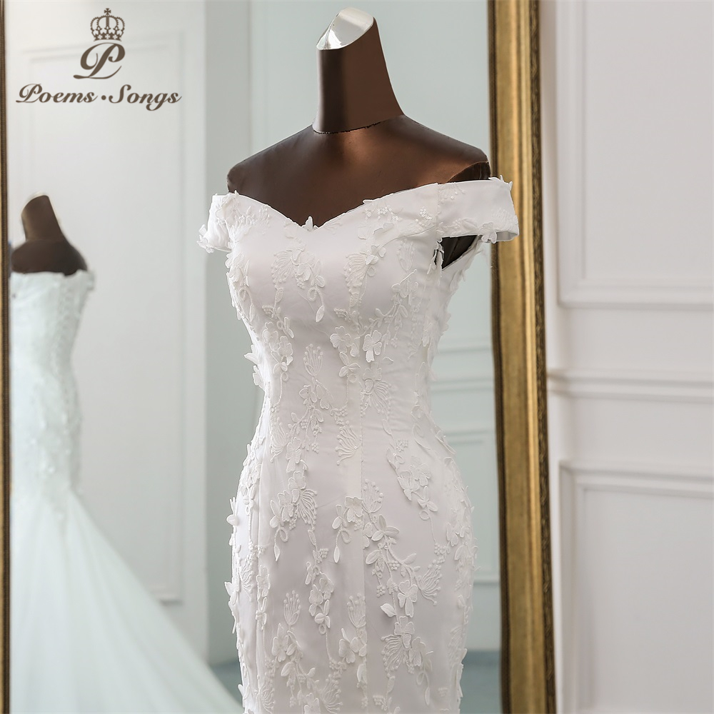 Image 4 - PoemsSongs 2019 new style beautiful three dimensional flower lace wedding dress Vestido de noiva Mermaid dress  robe mariage-in Wedding Dresses from Weddings & Events
