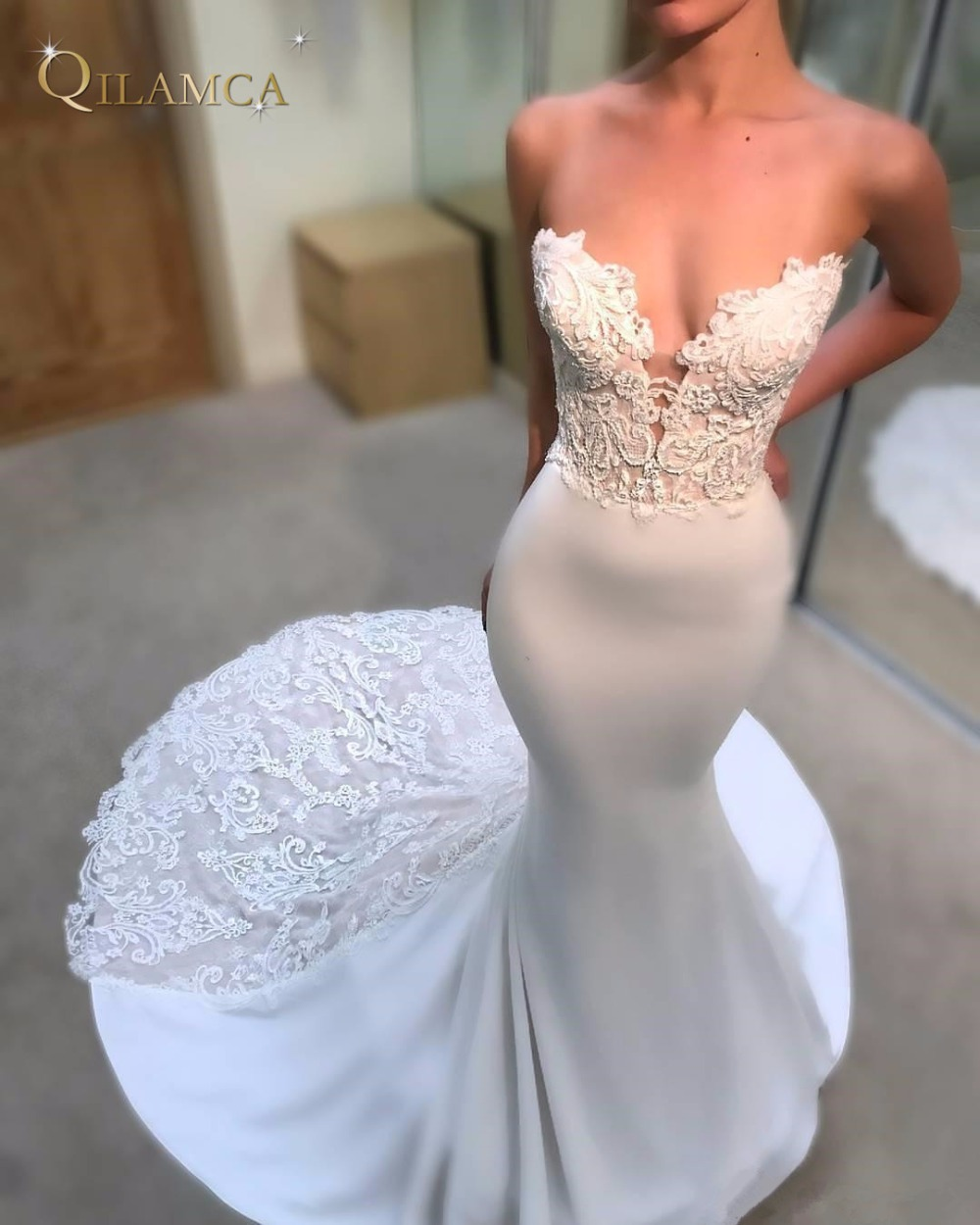 Sexy Sweetheart Bodice Wedding Dresses Mermaid Cathedral Train Open Back Weddings Bridal Gowns Dress Appliques Lace Vestido de n