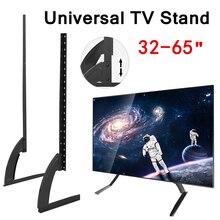 """マウント 32 65 """"高さ調節可能なユニバーサルテレビスタンドベースプラズマlcdフラットスクリーンテーブルトップ台座デスクトップテレビマウント簡単インストール"""
