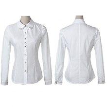 Mulheres Escritório Carreira TopFemmes Revit Tachas Botão Collar Up Blusa  OL Camisa Formal camisa chemise camicia 75a37e4514d0