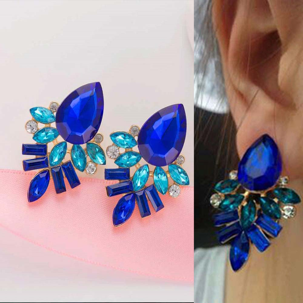 Pink Earrings Handmade Rhinestone  Sweet Stud Crystal