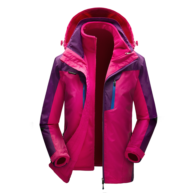 Hiking Jackets Women 3 in 1 Outdoor Windbreaker Warm Lady Paka Polar Fleece Lining Waterproof 2 in 1 Trekking Camping Coats