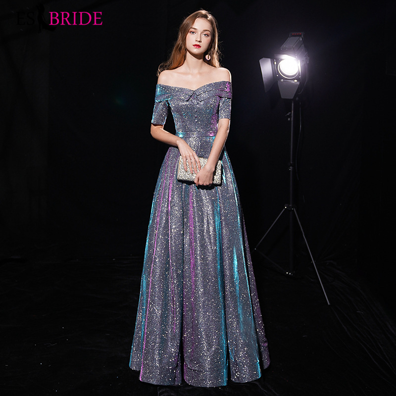 Shiny Evening Dress Boat Neck Long Evening Dresses Elegant Evening Gowns For Women Elegant 2019 Special Occasion Dresses ES1966