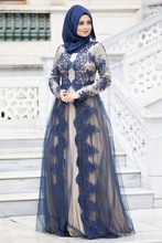 muslim royal blue evening dresses 2017 o neck long sleeves appliques lace hijab women pageant dress formal prom party gown