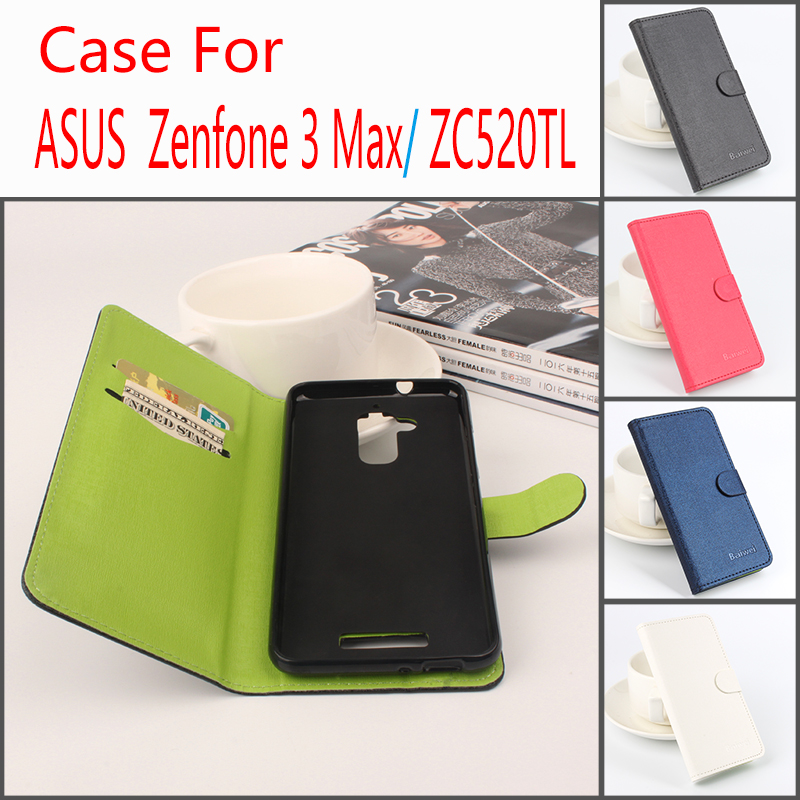 For Asus Zenfone 3 Max/ZC520TL Hit Color Cases Leather Flip Book Wallet Stand Card Holder Phone Case Cover