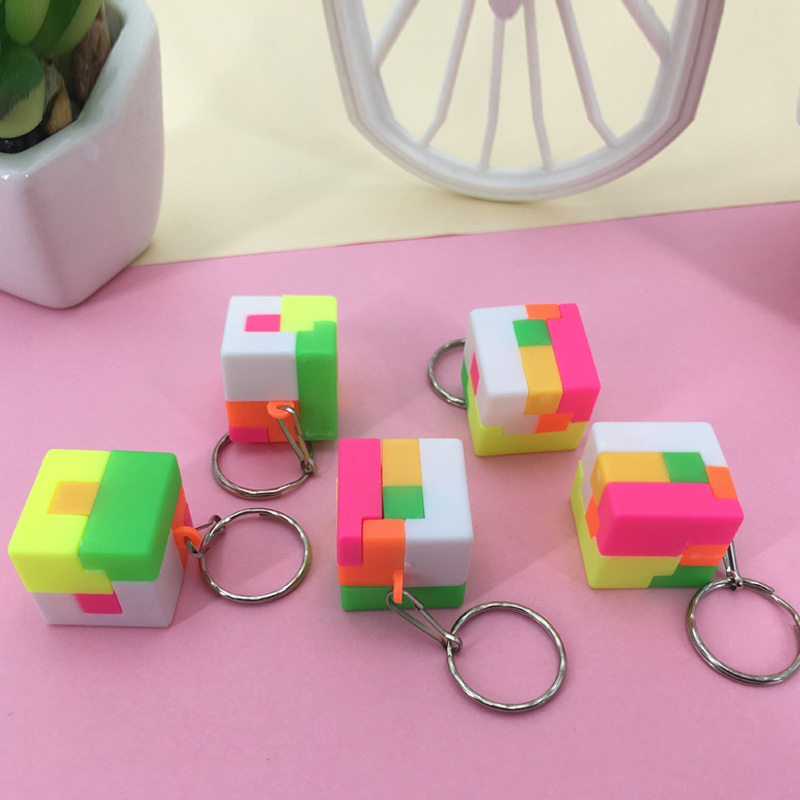 US $0 48 25% OFF Kids 3D Puzzle Toys Creative Cube Rainbow Football Square  Key Chain Colorful Educational Learning Toys For Children Gift-in Magic