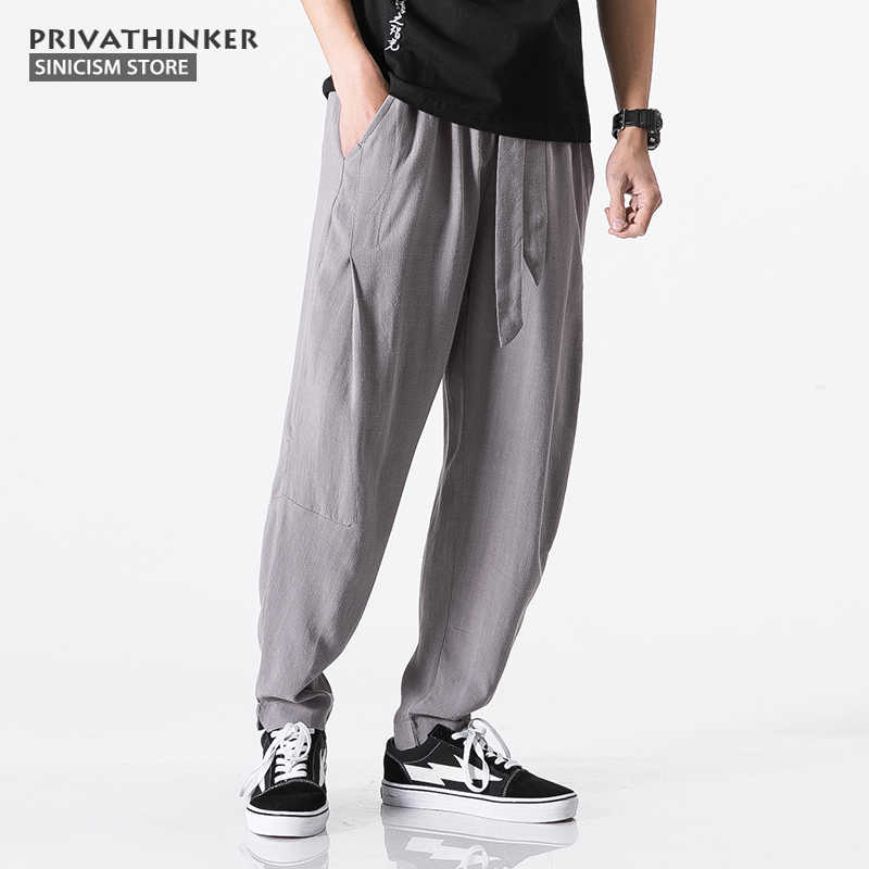 a432e375f8 ... Sinicism Store Size Plus 5XL Cotton Linen Harem Pants Men Belt Jogger Pants  Male Trousers Chinese ...