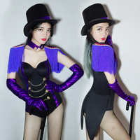 2018 Jazz Dance Costumes Purple Tassel Performance Bodysuit Rave Clothing Ds Dj Outfit Nightclub Singer Show Stage Suit DNV10024