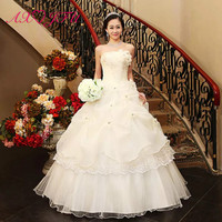 AXJFU Princess vintage flower lace white wedding dress luxury strapless sleeveless beading crystal ruffles wedding dress