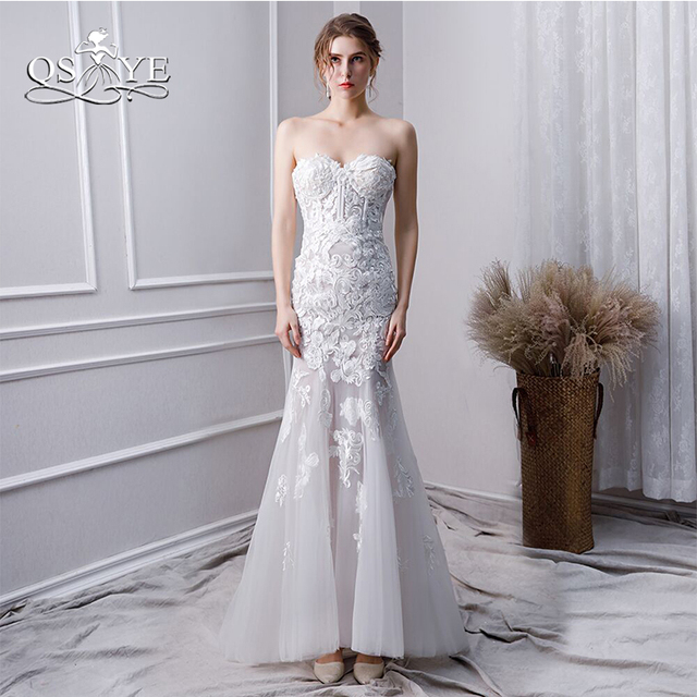 b191fa2a479 QSYYE 2019 White Lace Prom Dresses Long Mermaid Evening Dresses Off Shoulder  Sweetheart Floor Length Women Party Gowns