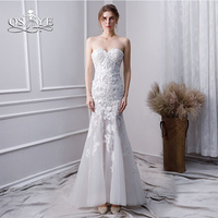 QSYYE 2019 White Lace Prom Dresses Long Mermaid Evening Dresses Off Shoulder Sweetheart Floor Length Women Party Gowns
