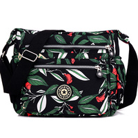 Women S Fashion Cloth Shoulder Bag More Zipper Printing Floral Women Bag Waterproof Nylon Satchels Preppy