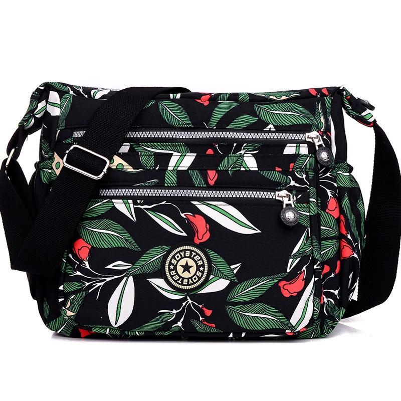 Ženska modna tkanina na rame torba Več zadrgo tiskanje cvetlična ženska torba Vodotesna najlonske torbice preppy style crossbody torba