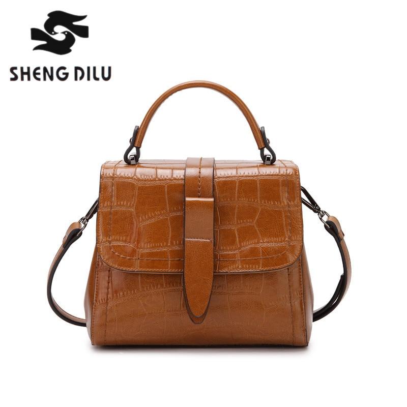 SHENGDILU BRAND new 2018 Designer Leather Women Shoulder Bag Retro Women genuine leather handbags Crossbody Messenger Ladies bag shengdilu brand new 2017 100
