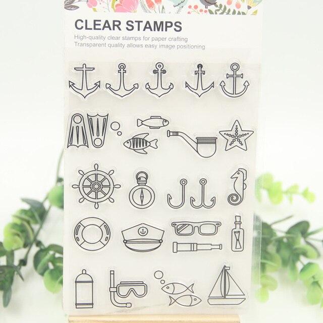 1 sheet diy sea anchor design transparent clear rubber stamp seal