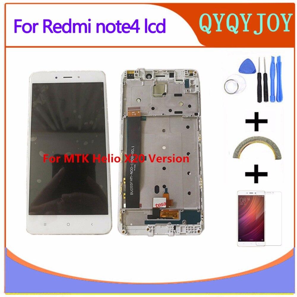 Alta calidad LCD display + digitizer pantalla táctil asamblea para xiaomi redmi Nota 4 hongmi Note4 MTK helio X20 teléfono móvil con marco