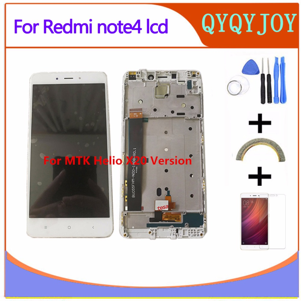 Hohe Qualität LCD Display + Digitizer Touch Screen Für Xiaomi Redmi Hinweis 4 Hongmi Hinweis4 MTK Helio X20 Handy mit Rahmen